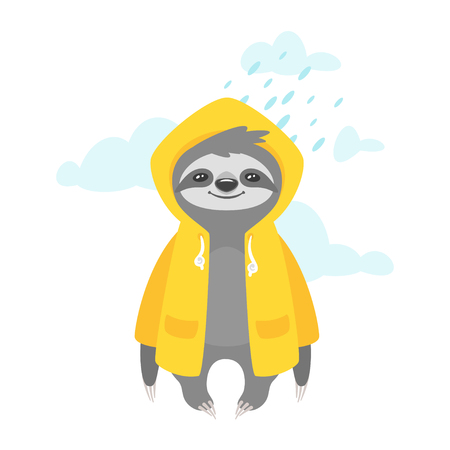 Illustrazione per Vector cartoon style illustration of cute sloth character in yellow raincoat, isolated on white background. Print for t-shirt or poster design. Rainy weather. - Immagini Royalty Free