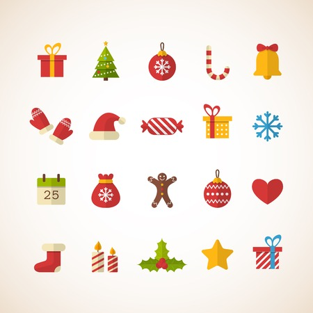 Illustration pour Set of flat Christmas icons. Vector illustration - image libre de droit