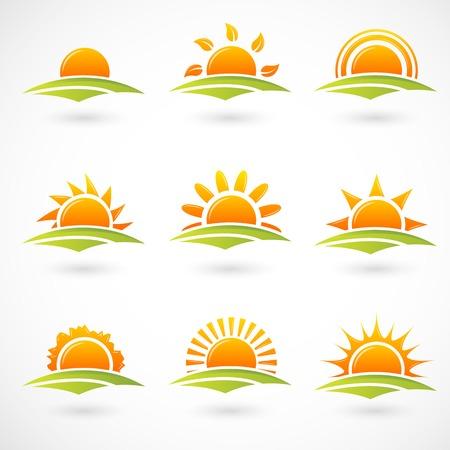Illustration pour Sunset icons - image libre de droit