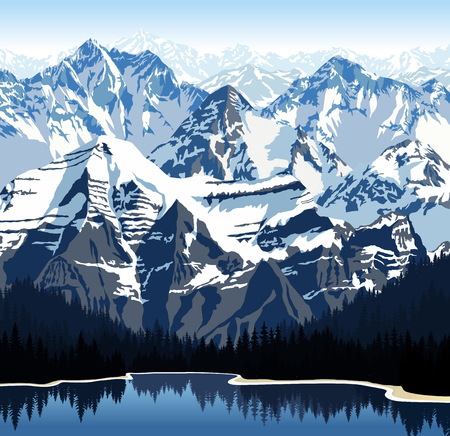 Illustration pour Vector lake in mountains - image libre de droit