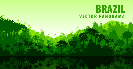 Illustration pour Vector panorama with Amazon river in Jungle Rainforest - Brazil, South America - image libre de droit