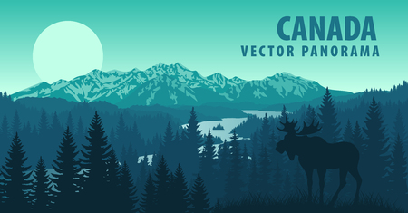 Illustration pour vector panorama of Canada with forest and Moose - image libre de droit