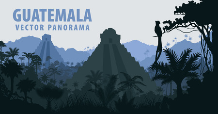 Illustration for Panorama with Tikal pyramid in Guatemala Jungle Rainforest - Royalty Free Image