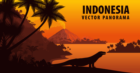 Illustration pour vector panorama of Indonesia with komodo dragon - image libre de droit