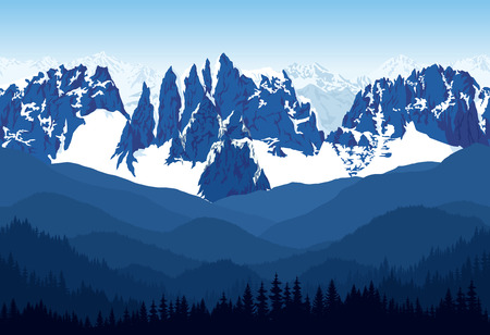 Illustration pour Seamless vector blue, beautiful mountains with forest panorama pattern. - image libre de droit