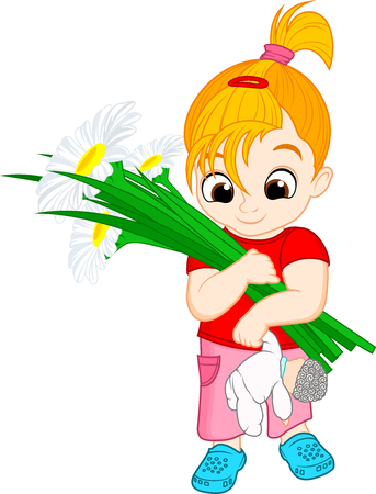 Ilustración de Vector cute kid girl with flowers chamomiles illustration. - Imagen libre de derechos