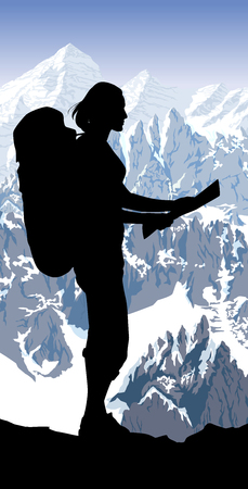 Illustration pour Alps mountain landscape at Europe Switzerland and girl with map - image libre de droit