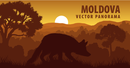 vector panorama of Moldova with fox