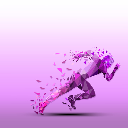 Ilustración de Abstract vector runner. Geometric silhouette - Imagen libre de derechos