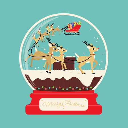 Illustration for Merry christmas santa gifts with reindeers on the roof of the house - Royalty Free Image