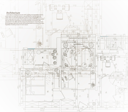 Ilustración de Architectural house blueprint. The architectural plan of the apartment. - Imagen libre de derechos