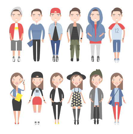 Illustration pour Girls and boys in casual clothes set. On a white background individual figures. - image libre de droit