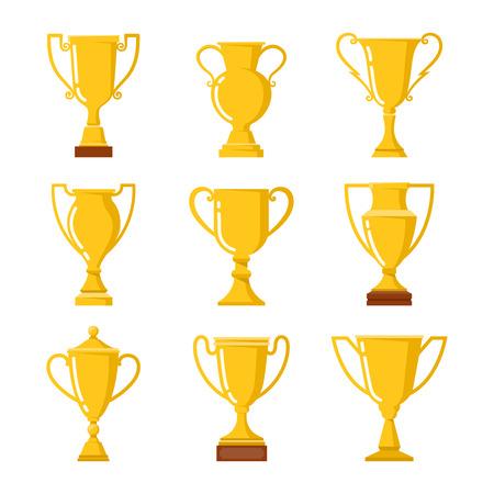 Ilustración de Winners cup. Set of different golden bowls. - Imagen libre de derechos
