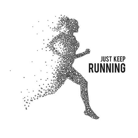 Illustration pour Running woman. The silhouette on a white background. - image libre de droit