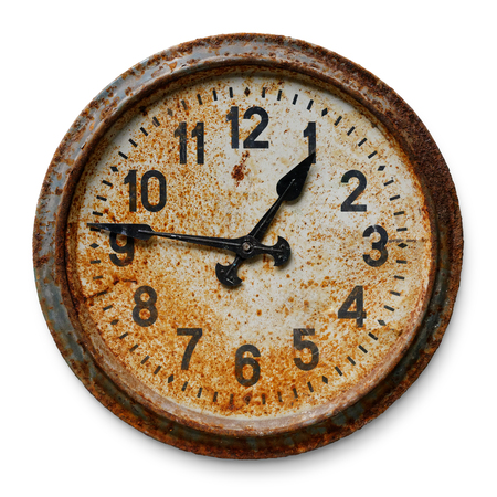 Photo for Very old worn and rusty round wall clock, isolated on white background - Royalty Free Image