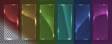 Ilustración de Transparent glass panels with different glare. On a multicolored background. Vector illustration, eps 10. - Imagen libre de derechos