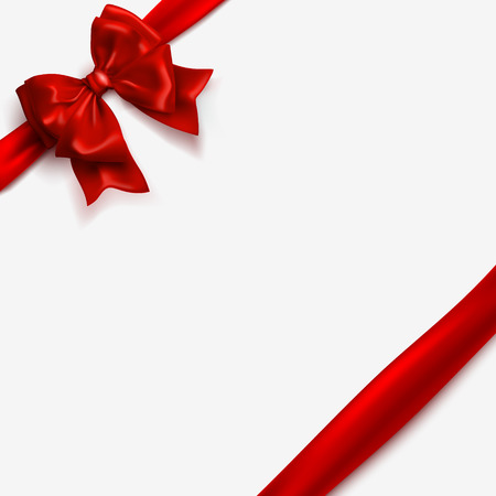 Ilustración de Bow and red satin ribbon isolated on white background. Vector silk tape, decor wrap element. Vector bow template for Christmas, New Year, Happy Valentines Day greeting card design. - Imagen libre de derechos