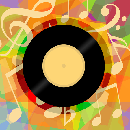 Photo for Musical background with vinyl record and music notes - Royalty Free Image
