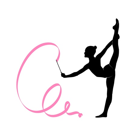 Illustration for Silhouette of gymnastic girl - Royalty Free Image