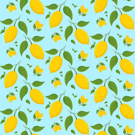 Seamless pattern with lemons on branch. Texture with citrus fruits in cartoon style.