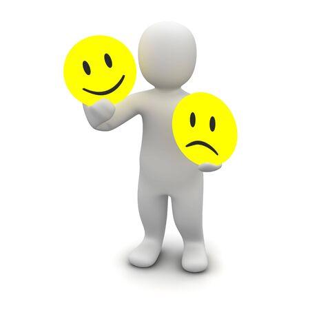 Man with emotions symbols. 3d rendered illustration.