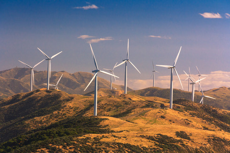 Photo for landscape with hills and wind turbines, location - Wellington, North Island, New Zealand - Royalty Free Image
