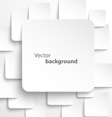 Illustration for Paper square banner with drop shadows on white background   - Royalty Free Image