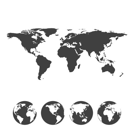 Illustration pour Gray map of the world with globe icons. Vector illustration - image libre de droit
