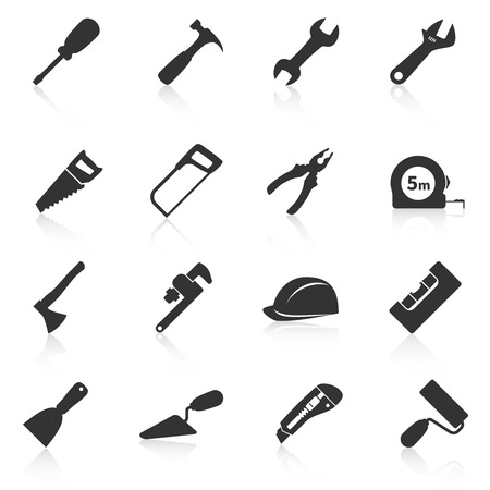 Illustration pour Set of construction tools icons. Vector illustration - image libre de droit