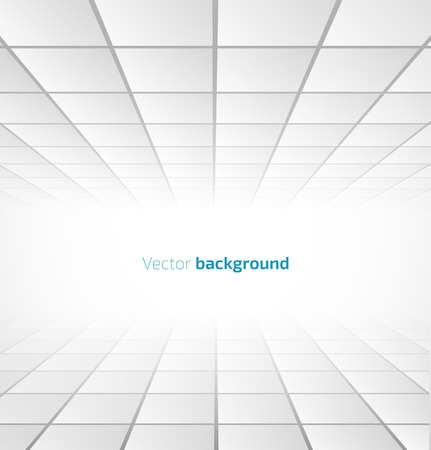 Illustration pour Abstract white tiled background with a perspective. Vector illustration - image libre de droit