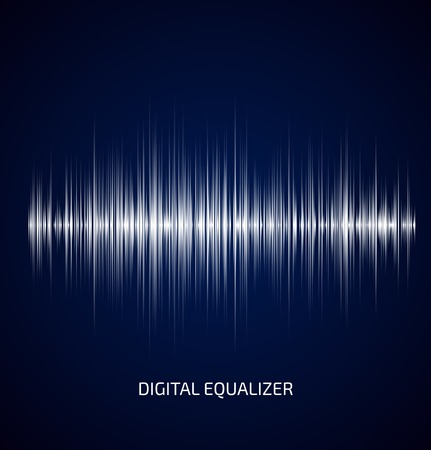 Ilustración de Abstract white music equalizer on dark blue background. Vector illustration - Imagen libre de derechos