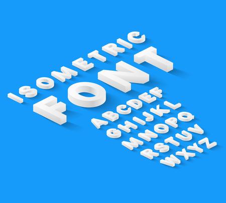 Ilustración de White isometric font alphabet with drop shadow on blue background. Vector illustration - Imagen libre de derechos