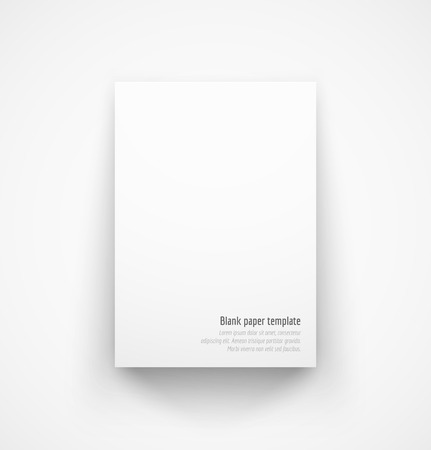 Ilustración de White paper template mock-up with drop shadow. Vector illustration - Imagen libre de derechos