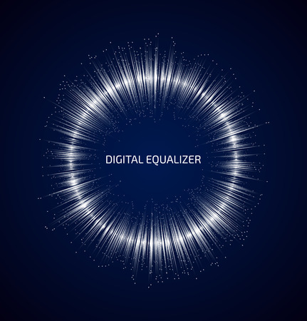 Illustration pour Abstract white round music equalizer with dots on dark blue background. Vector illustration - image libre de droit