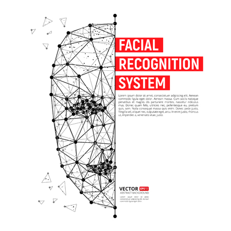 Ilustración de Biometric identification or Facial recognition system concept. Vector illustration of human face consisting of polygons, points and lines with place for your text isolated on white background - Imagen libre de derechos