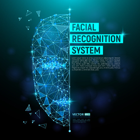 Ilustración de Biometric identification or Facial recognition system concept. Vector illustration of human face consisting of polygons, points and lines with place for your text isolated on dark blue background - Imagen libre de derechos