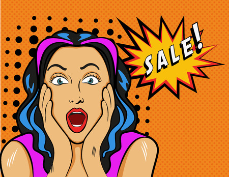 Illustration pour Woman with Sale sign. Vector Illustration in pop art style. - image libre de droit