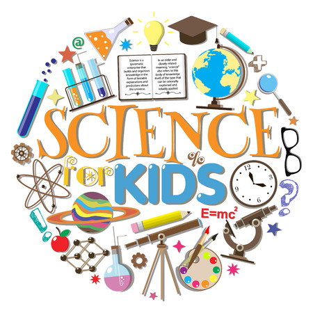 Illustration pour Science for kids. School symbols and design elements isolated on white background. Vector illustration. - image libre de droit