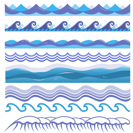 Vector illustration of ocean and sea waves, surfs and splashes. Seamless isolated design elements on white background. Blue marine patterns.