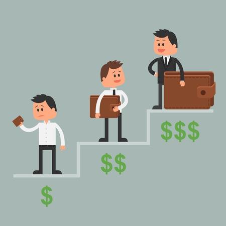 Ilustración de Business concept vector illustration in flat style. Money investment concept. Dollar symbols and wallet. Cartoon businessman get rich and move up - Imagen libre de derechos