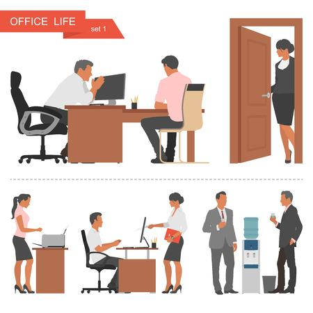 Ilustración de Flat design of business people or office workers. People talking and working at the computers. Coffee break near cooler. Vector illustration isolated on white background. - Imagen libre de derechos