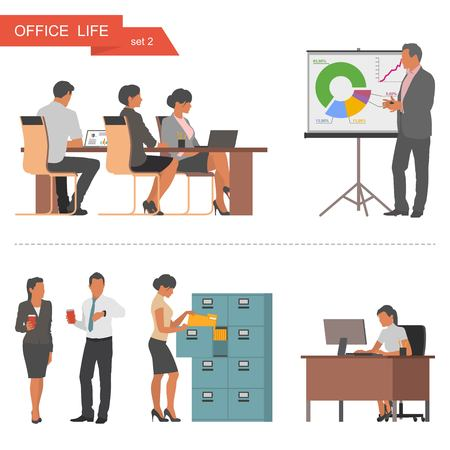 Illustration pour Flat design of business people or office workers. People talking and working at the computers. Business presentation and meeting. Vector illustration isolated on white background. - image libre de droit