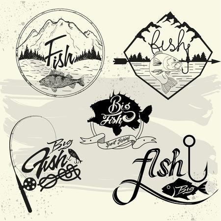 Illustration pour Vector set of fishing club labels, design elements, emblems and badges. Isolated logo illustration in vintage style. - image libre de droit