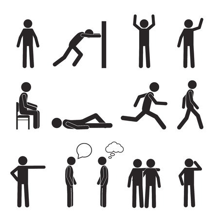 Illustration pour Man posture pictogram and icons set. People sitting, standing, running, lying, talking. Human body action poses and figures. Vector illustration isolated on white background. - image libre de droit