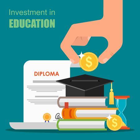 Ilustración de Invest in education concept. Vector illustration in flat style design. Stack of books, diploma and university student cap. Money savings for study - Imagen libre de derechos