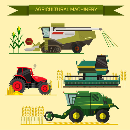 Illustration pour Vector set of agricultural vehicles and farm machines. Tractors, harvesters, combines. Illustration in flat design. - image libre de droit