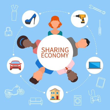 Illustration pour Sharing economy and smart consumption concept. Vector illustration in flat style. People save money and share resources. - image libre de droit