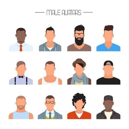 Ilustración de Male avatar icons vector set. People characters in flat style. Design elements isolated on white background. Faces with different styles and nationalities. - Imagen libre de derechos