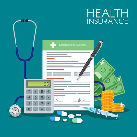 Foto per Health insurance form concept vector illustration. Filling medical documents. Stethoscope, syringe. - Immagine Royalty Free