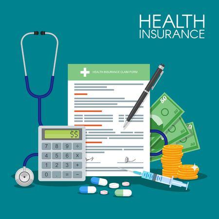 Photo pour Health insurance form concept vector illustration. Filling medical documents. Stethoscope, syringe. - image libre de droit